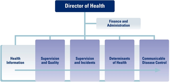 Organisational chart for the Directorate of Health, 1 Sept. 2015